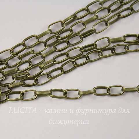 Цепь (цвет - античная бронза) 7х4 мм, примерно 1 м