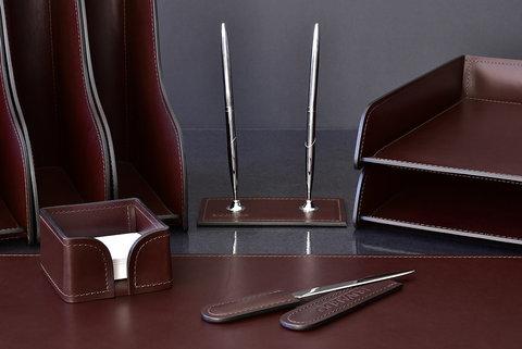 Подставка для двух ручек BUVARDO LUX из кожи Full Grain Bologna Brown