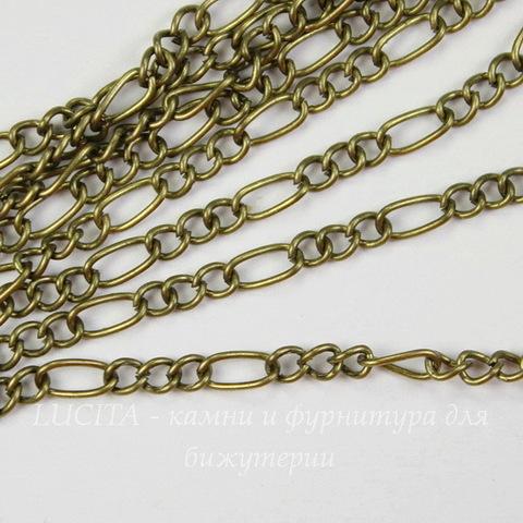 Цепь 3:1 (цвет - античная бронза) 6х3 мм, 3х2,5 мм, примерно 2 м