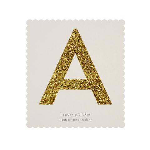 Стикер А, мерцающее золото