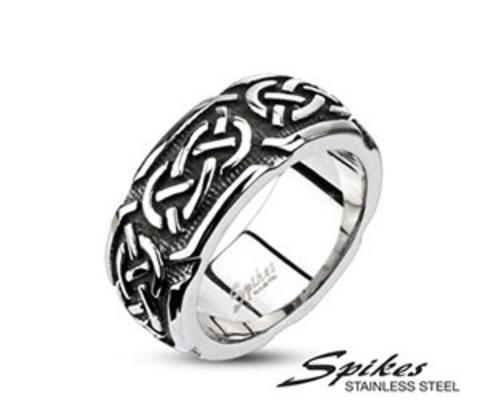 Мужское стальное кольцо «Spikes» с этническим орнаментом
