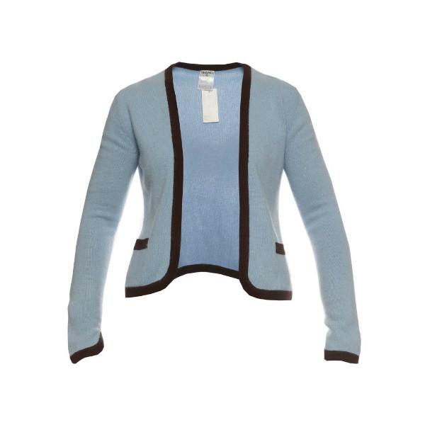 Элегантный кашемировый кардиган благородного голубого цвета с коричневым кантом от Chanel, 38 размер