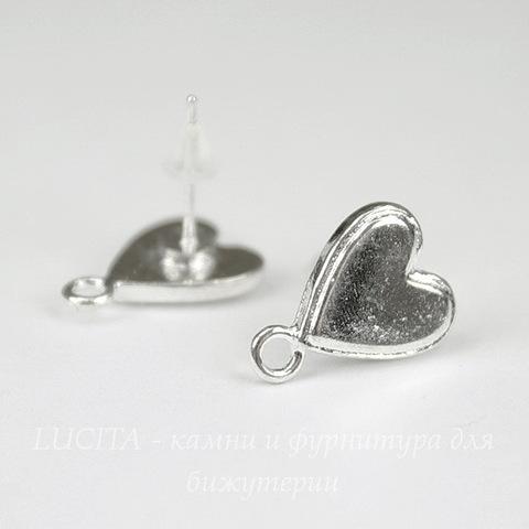 "Пуссеты - гвоздики ""Сердечки"" 15х11 мм (цвет - серебро) (с заглушками)"