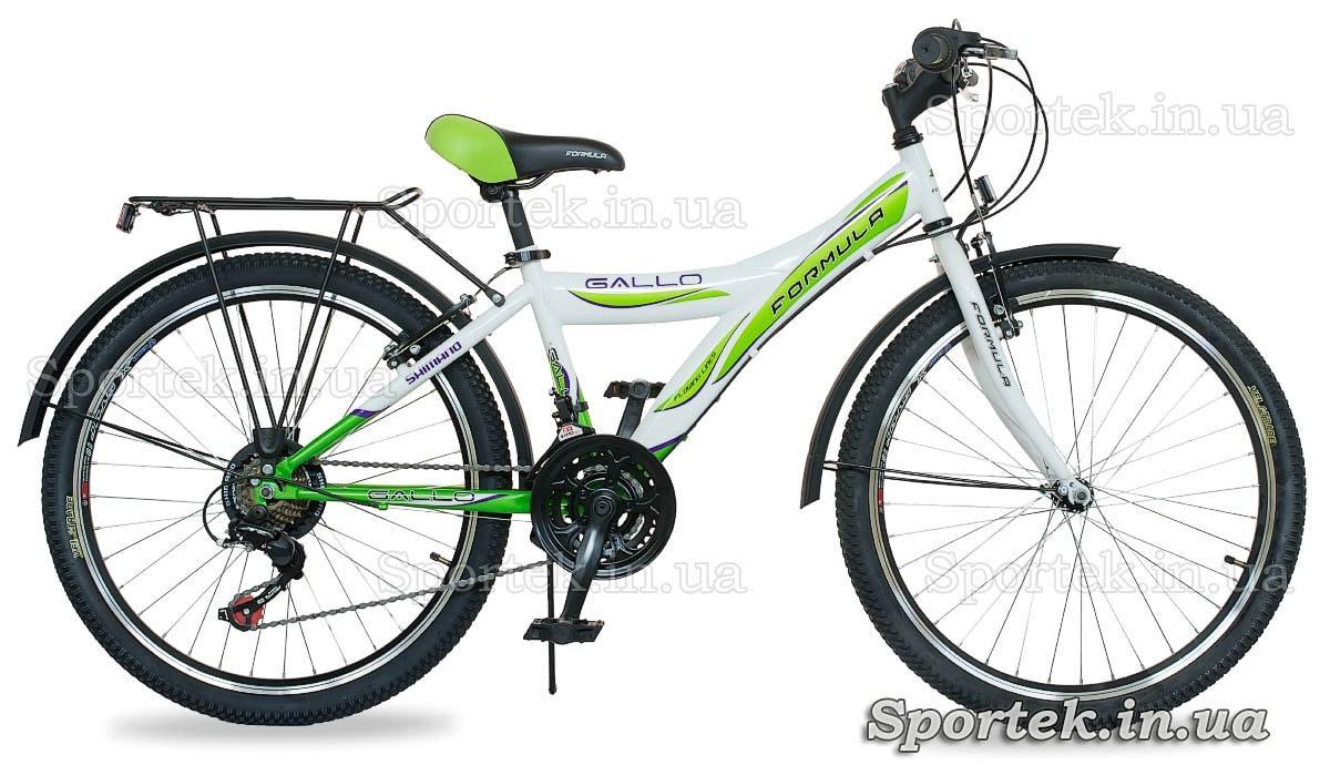 Городской женский подростковый велосипед Формула Галло с колесами 24 дюйма бело-зеленый