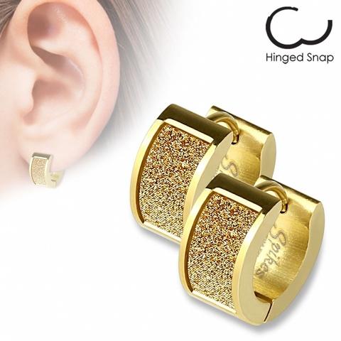 Оригинальные женские красивые стильные серьги кольцами с позолотой с алмазным блеском из нержавеющей медицинской хирургической ювелирной стали 316L SPIKES SEZ-12