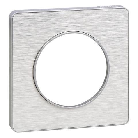 Рамка на 1 пост. Цвет Полированный алюминий, алюминиевая вставка. Schneider Electric(Шнайдер электрик). Odace(Одес). S53P802J