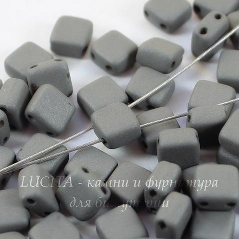 Бусина Tile mini Квадратная плоская с 2 отверстиями, 5 мм, серая матовая