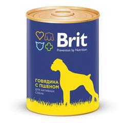 Консервы для собак, Brit Premium, с говядиной и пшеном