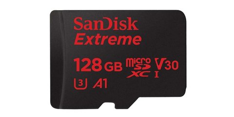 MicroSDXC 128GB SanDisk UHS-I A1 Extreme for Action Cameras (SD адаптер) карта