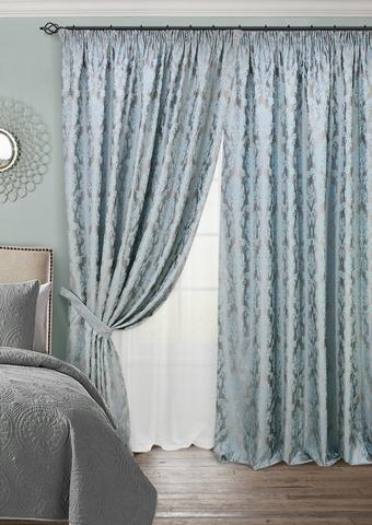 Комплект штор с тюлем и подхватами жаккард Афина голубой
