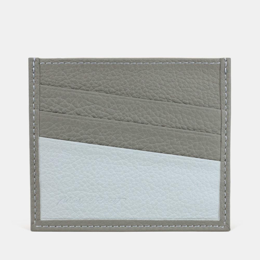 Картхолдер-визитница Carte Bicolor из натуральной кожи теленка, стального цвета