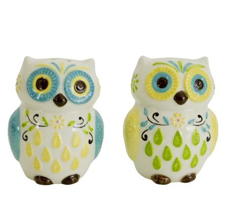 Набор солонка и перечница Boston Warehouse Floral Owl