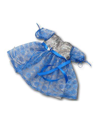 Платье из парчи и гипюра - Синий. Одежда для кукол, пупсов и мягких игрушек.