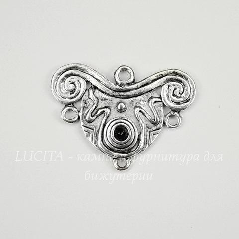 Коннектор (1-3) 29х21 мм (цвет - античное серебро)