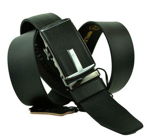 Ремень мужской брючный чёрный из натуральной кожи 35 мм с автоматической кожаной пряжкой 35Millenium-A-148