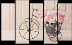 """Модульная картина """"Велосипед с цветочной корзинкой"""""""