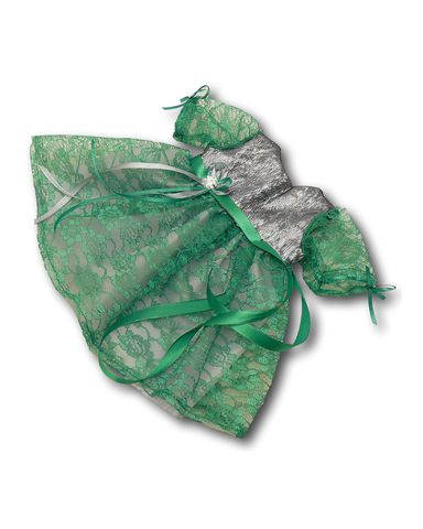 Платье из парчи и гипюра - Зеленый. Одежда для кукол, пупсов и мягких игрушек.