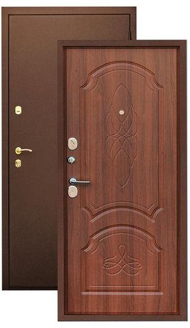 Дверь входная Зевс Z-6, 2 замка, 2 мм  металл, (медь+орех)