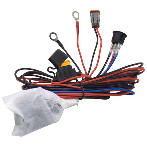 Комплект проводов с разъёмом, кнопкой, реле, предохранителем для фар 40 - 100 светодиодов ALO-AW4  фото-1
