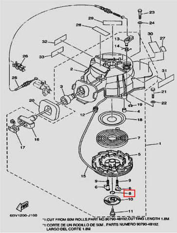 Стопорное кольцо стартера для лодочного мотора F5 Sea-PRO(10-8)