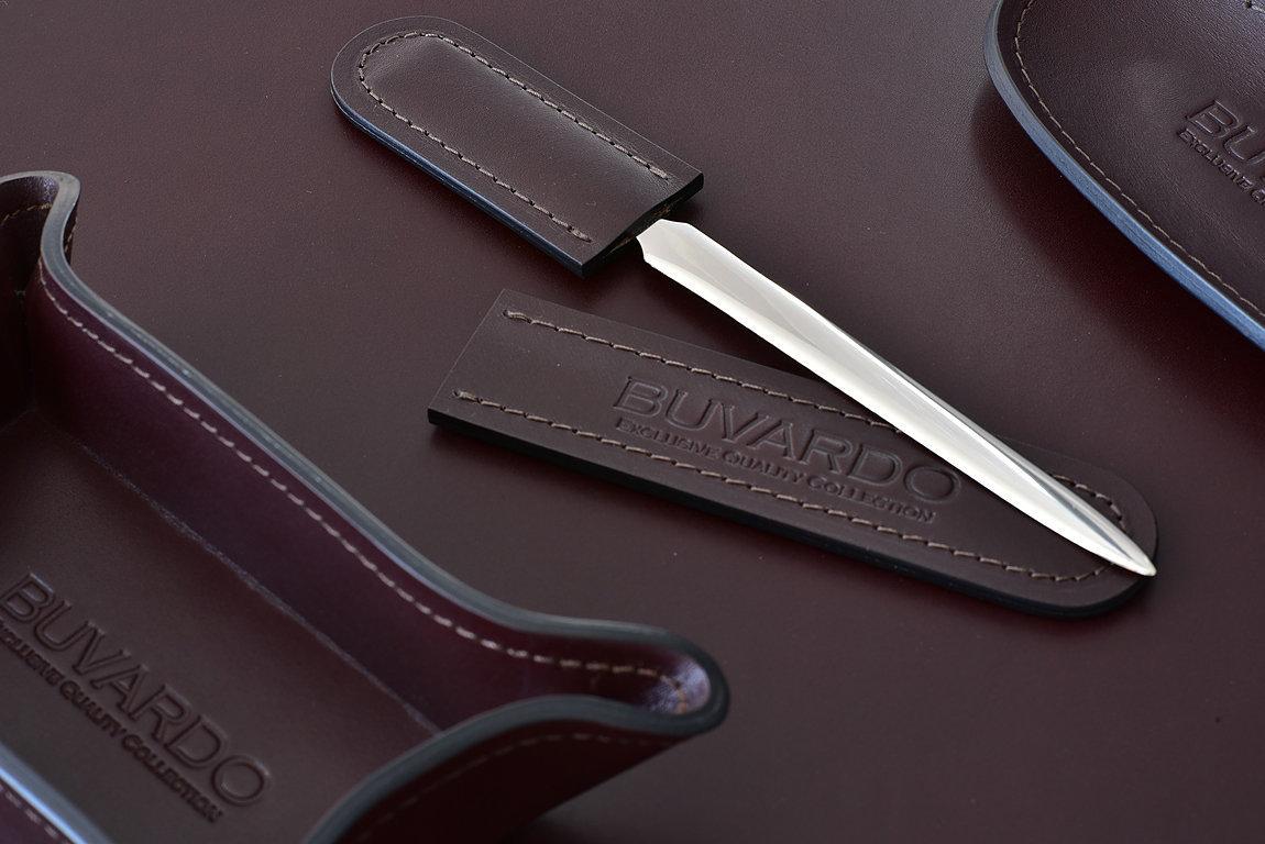 Канцелярский нож с ножнами BUVARDO LUX из кожи Full Grain Bologna Brown