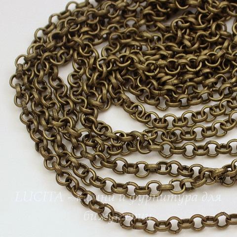 Цепь (цвет - античная бронза) 4 мм, примерно 2 м (Картинка)