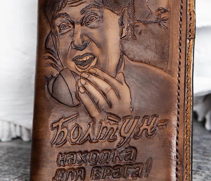 """BC200 Ежедневник """"Болтун"""" в кожаной обложке ручной работы (A6) фото 03"""
