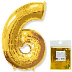 Цифра, 6, Золото, F 40''/102 см, 1 шт. в упаковке