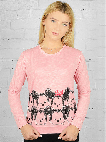 K032-27 футболка женская дл. рукав, розовая