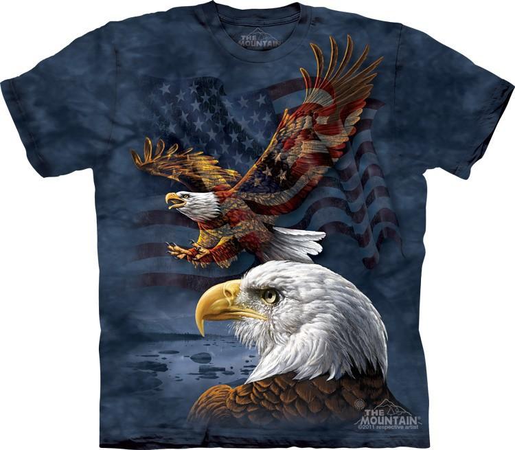 Футболка Mountain с изображением флага США и орла - Eagle Flag Collage