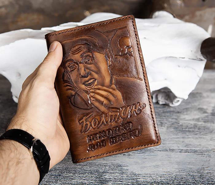 """BC200 Ежедневник """"Болтун"""" в кожаной обложке ручной работы (A6) фото 05"""