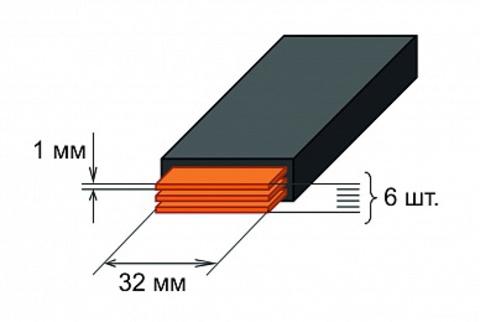 Шина медная гибкая изолированная ШМГ 6х(32x1мм) 2м.
