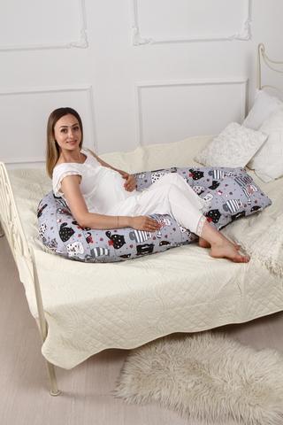 Подушка для беременных U360 (полистирол + лебяжий пух) 10090 котики