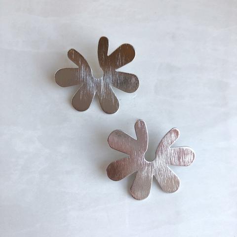 Серьги Ромашка, серебряный цвет