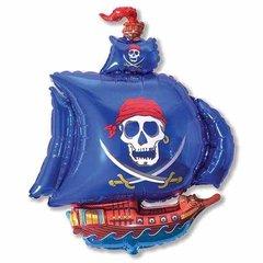 Фольгированный воздушный шар Пиратский корабль. Синий.