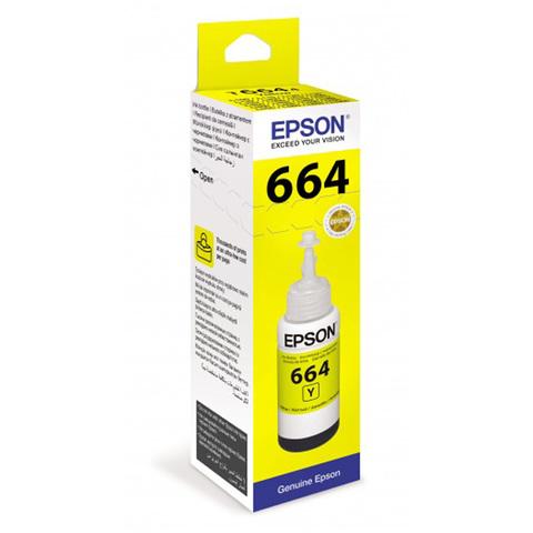 Чернила желтые Epson для  L100, L110, L120, L1300, L200, L210, L300, L350, L355, L550, L486 (70 мл) C13T66444A