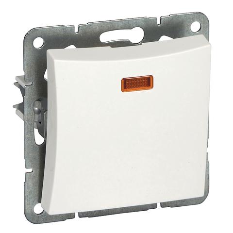 Выключатель одноклавишный с подсветкой (схема 1а) 10 АХ 250 В. Цвет Белый. Schneider Electric(Шнайдер электрик). Duet(Дует). WDE000113