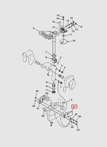 Корпус амортизатора  для лодочного мотора T15, OTH 9,9 SEA-PRO (14-21)