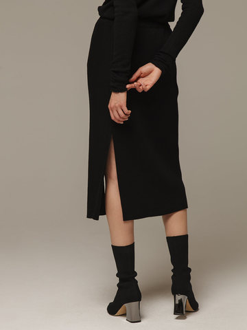 Женская черная юбка с разрезами из шерсти и кашемира - фото 4