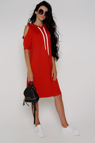 """Самое комфортное платье от """"Дени-Лу"""". Модель свободного кроя, к низу -расклешенная. Капюшон и открытые плечи создают образ спортивного шика. Карманы функциональные. По спинке модная отделка.Длина изделия/рукава - 44р.-50р.= 96см.-99см."""