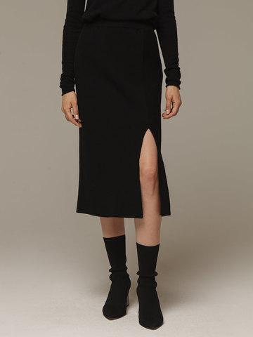 Женская черная юбка с разрезами из шерсти и кашемира - фото 2