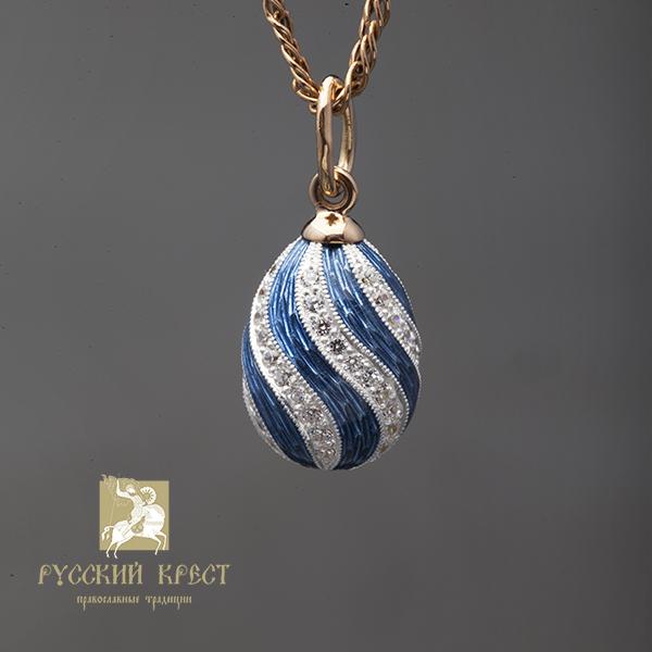 Кулончик Пасхальное яйцо с голубой эмалью.