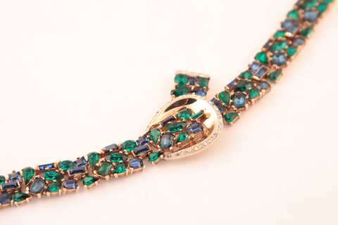 Роскошный браслет в сине-зеленой цветовой гамме от Trifari, 50-е гг.