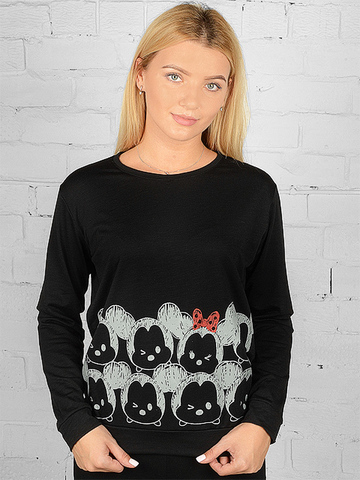 K032-3 футболка женская дл. рукав, черная