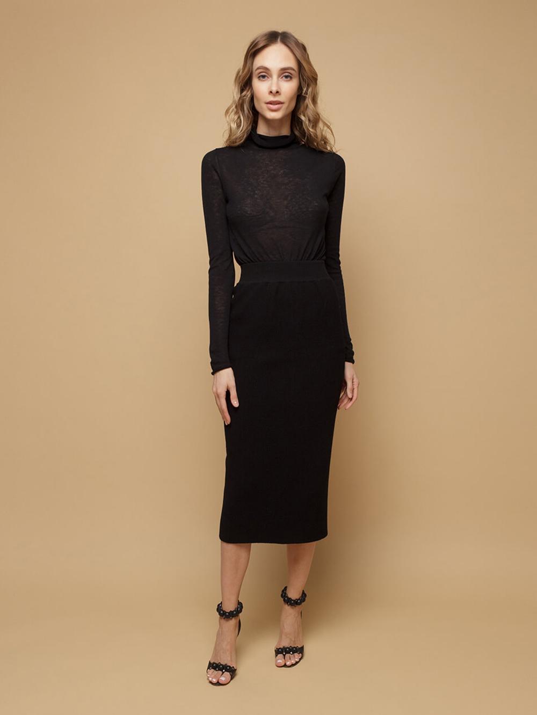 Black female skirt made of wool - фото 1