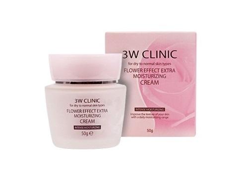 3W Clinic Увлажняющий крем для лица Цветочный Flower Effect Extra Moisture Cream, 50 г