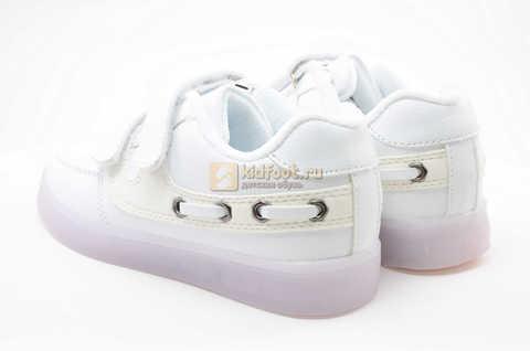 Светящиеся кроссовки с USB зарядкой Бебексия (BEIBEIXIA) для девочек цвет белый. Изображение 6 из 12.
