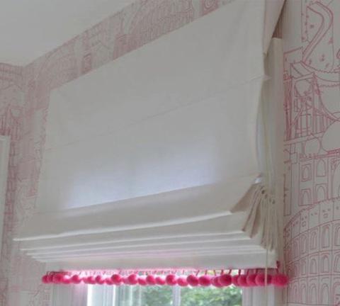 Хлопковая римская штора Джин с помпонами