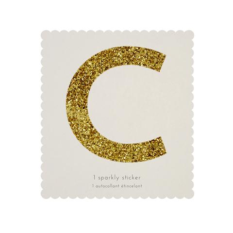 Стикер C, мерцающее золото