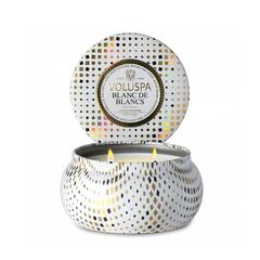 Ароматическая свеча Voluspa Белее белого в алюминиевой банке с 2-мя фитилями